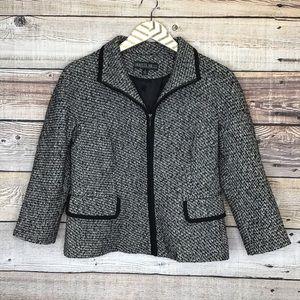 LaFayette 148 Petite 6 Zip Up Blazer Black Gray